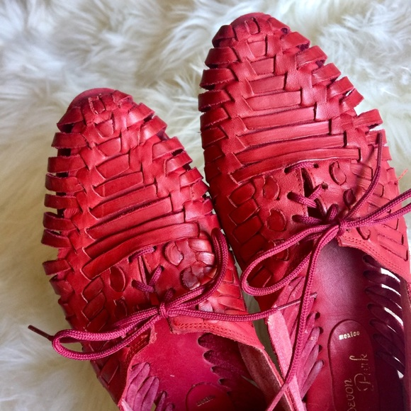 e0b13116b9e5 Devon Park Shoes - Anthropology inspired red leather Huaraches